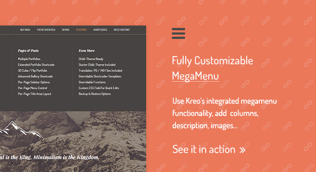 Fully Customizable MegaMenu / Use Kreo's integrated megamenu functionality, add  columns, description, images…