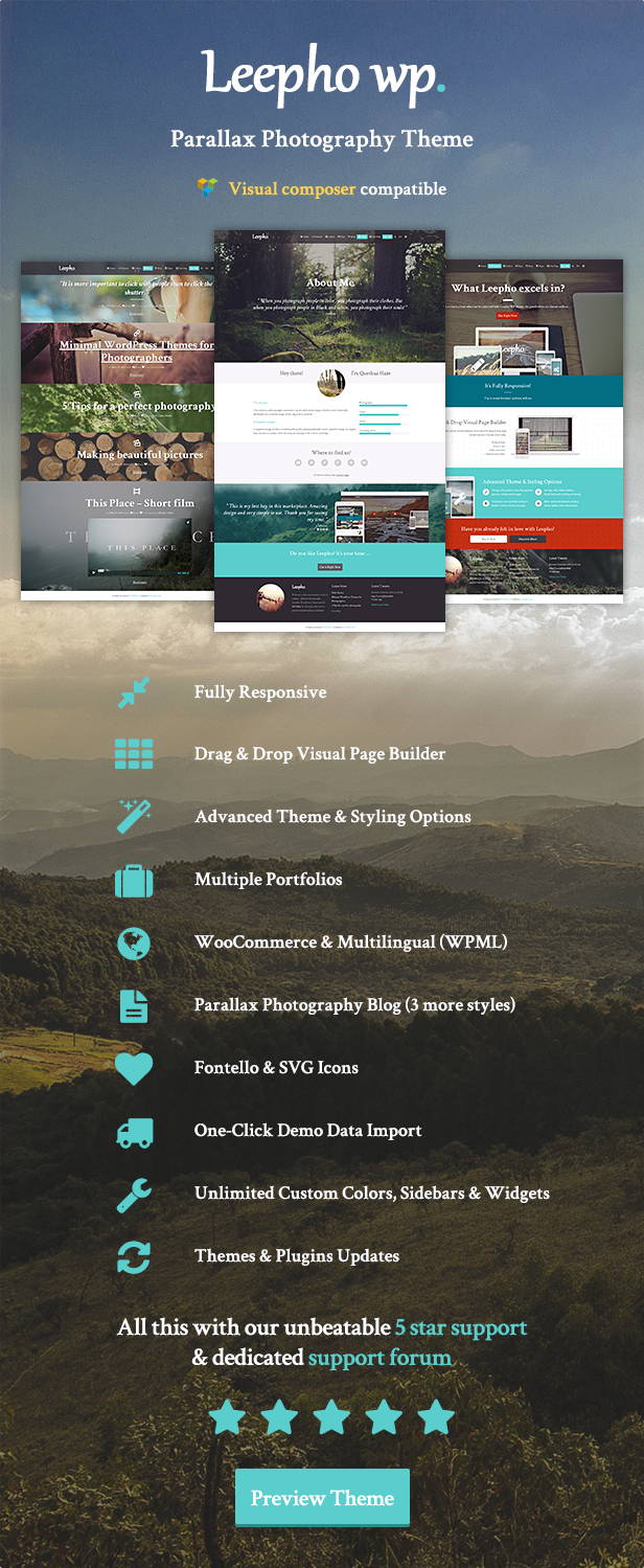 Leepho WP - Parallax Photography Theme