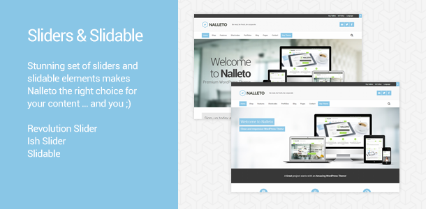 Sliders & Slidable. Stunning set of sliders and slidable elements makes Nalleto the right choice for your content … and you ;)