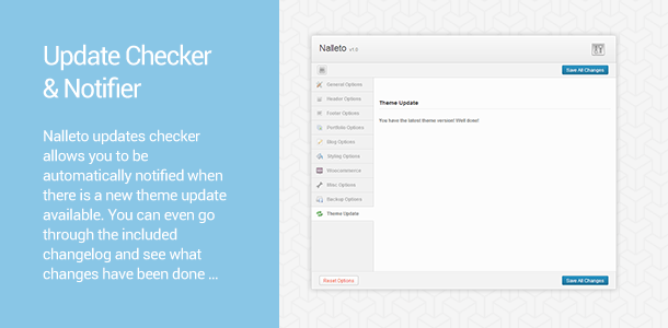 Nalleto Theme Updates. Nalleto updates checker allows you to be automatically notified when there is a new Nalleto theme update available. You can even go through the included changelog and see what changes have been done …
